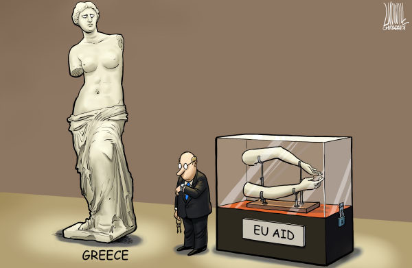Luojie - China Daily, China - Greece and EU Aid - English - anxiety,greece,EU,aid,Venu,arm,wait,debt crisis
