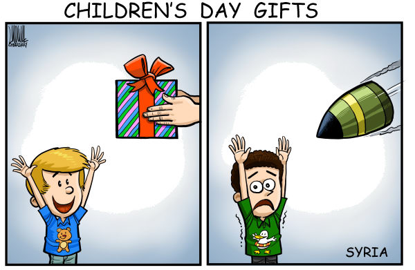 Luojie - China Daily, China - Children's day gifts - English - Childrens day,gift,bomb,Syria