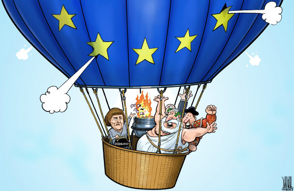 Luojie - China Daily, China - We are saved - English - EU,Angela Merkel,balloon,burn,money,Spain,Greece,debt crisis