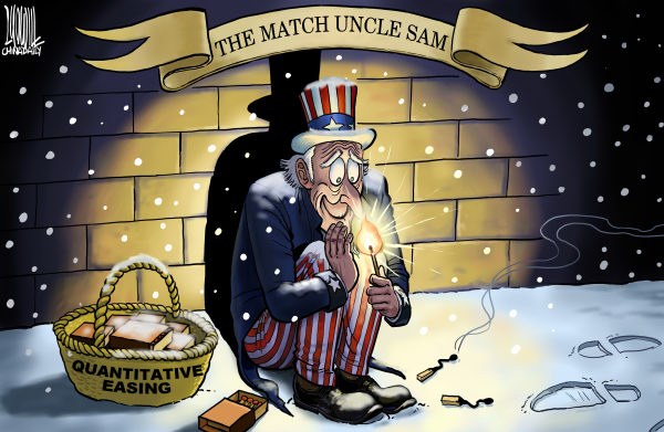 Luojie - China Daily, China - The Match Uncle Sam - English - The Match Uncle Sam,QE3,match,fire,warm,winter,recession,snow