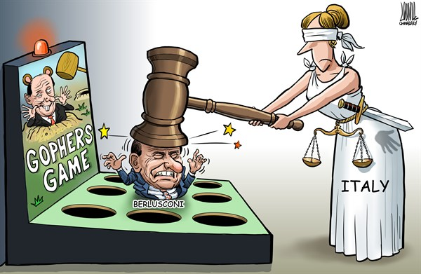 Luojie - China Daily, China - Gophers game - English - gophers,game,hammer,Italy,justice,Berlusconi,guilty