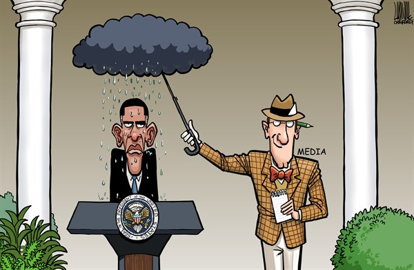Holding umbrella © Luojie,China Daily, China,holding umbrella,Obama,media,press,rain,clouds,Scandals