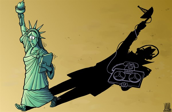 Luojie - China Daily, China - Shadow - English - shadow,US,government,scandal,wiretapping,Statue of Liberty