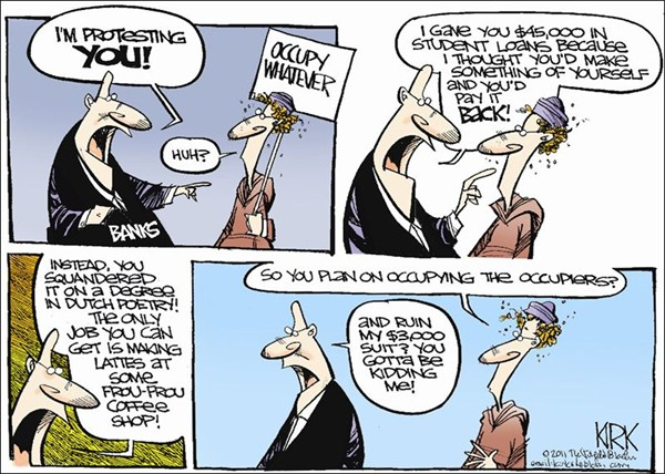 Occupy Whatever © Kirk Walters,Toledo Blade,OWS,Occupy Wall Street,suit,plan,loans