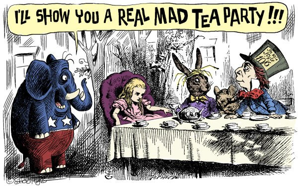 Martin Sutovec - Slovakia - Mad Tea Party - English - Tea Party, Alice in Wonderland, Republicans, Elephant, Mad Tea Party