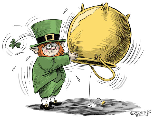 Martin Sutovec - Slovakia - Empy  Irish  Pot Color - English - 		Ireland,bailout,European Union,leprechaun,pot,crisis,dept