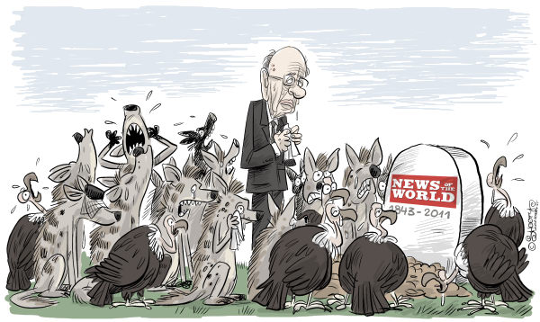 News of the World ended © Martin Sutovec,Slovakia,News of the World, Rupert Murdoch, hyenas, vultures