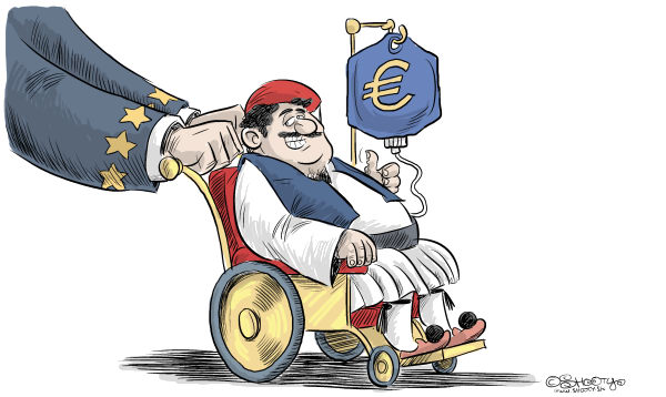 Martin Sutovec - Slovakia - Greece bailout - English - Greece, bailout, European Union, Euro, crisis, €,government spending, debt, deficit, wheel chair