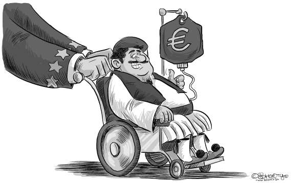 Martin Sutovec - Slovakia - Greece bailout - English - Greece, bailout, European Union, Euro, crisis, €, economy, wheel chair, debt, spending