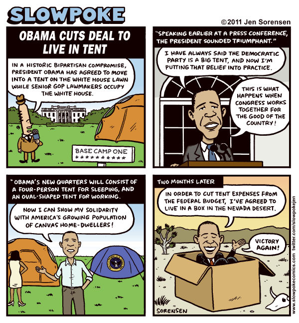 91682 600 Obama Cuts Deal to Live in Tent cartoons