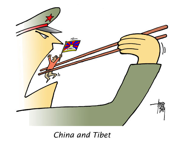 China and Tibet © Arend Van Dam,politicalcartoons.com,China,Tibet,eat,prisoner,free,oppression,suffer
