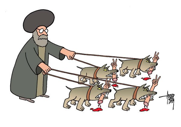 76286 600 Iran regime and opposition cartoons