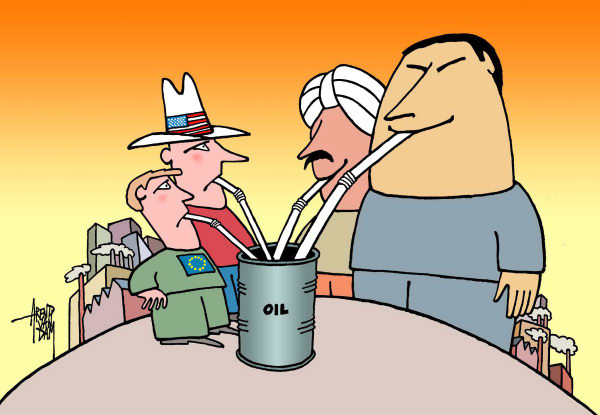77035 600 oil thirst China and India cartoons