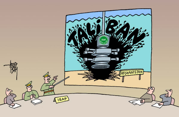 ISAF, Taliban and blow out preventer © Arend Van Dam,politicalcartoons.com,Afghanistan, ISAF, Taliban, blow out preventer