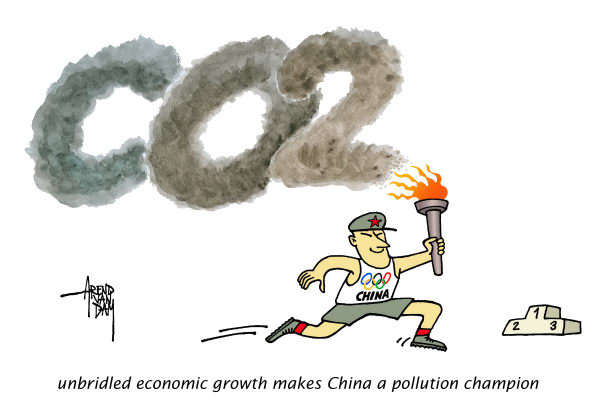 China growth and pollution © Arend Van Dam,politicalcartoons.com,China, economic growth, pollution, CO2, pollution worsens