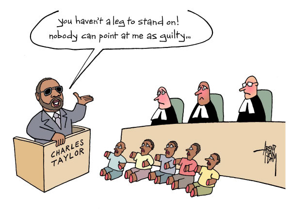 Charles Taylor and Special Court for Sierra Leone © Arend Van Dam,politicalcartoons.com,Charles Taylor, Liberia, Liberian Civil War, Sierra Leone, war crimes trial, warlord, Africa, blood diamond, Naomi Campbell, the Hague, Special Court for Sierra Leone