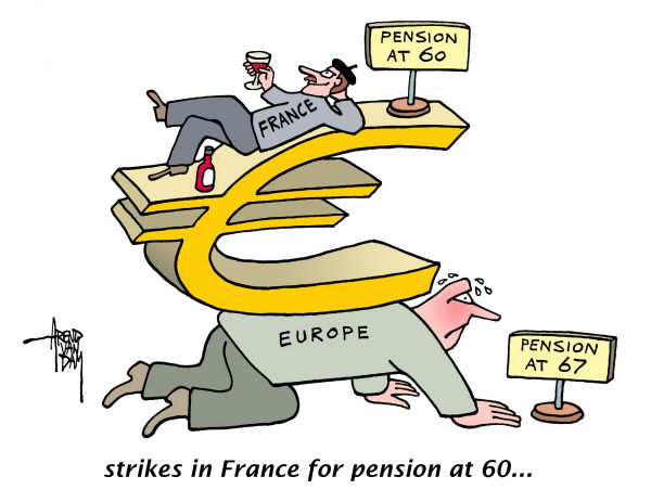 84499 600 strikes for early pension in France cartoons