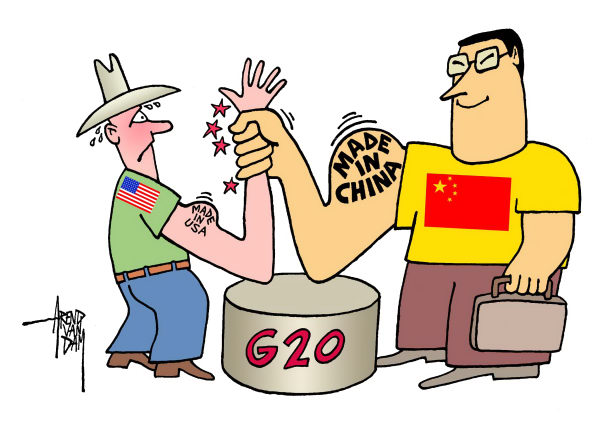 G-20 summit China-USA © Arend Van Dam,politicalcartoons.com,G-20 summit, China, USA, economy, currency war
