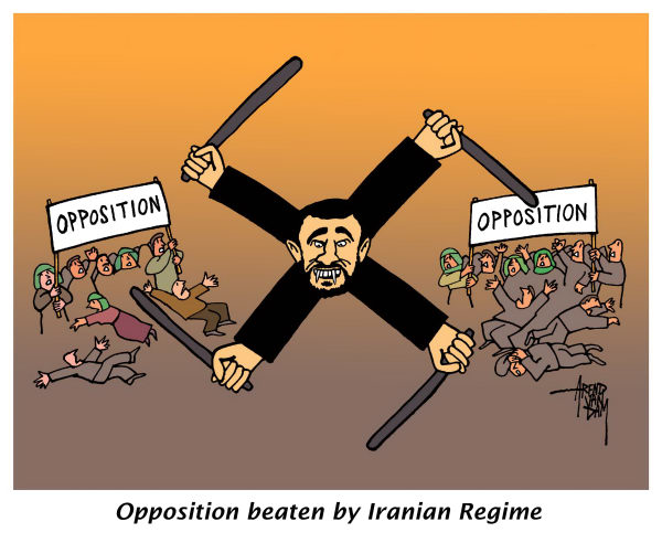 89274 600 Opposition beaten by Iranian Regime cartoons
