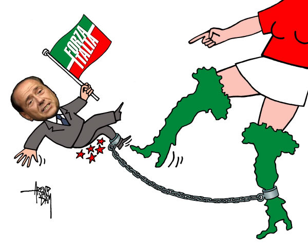 Arend Van Dam - politicalcartoons.com - Italy and Berlusconi - English - Italy, Berlusconi