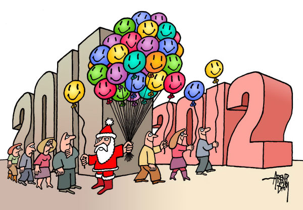 Arend Van Dam - politicalcartoons.com - Happy 2012 - English - New Year, 2012, happy new year, Christmas
