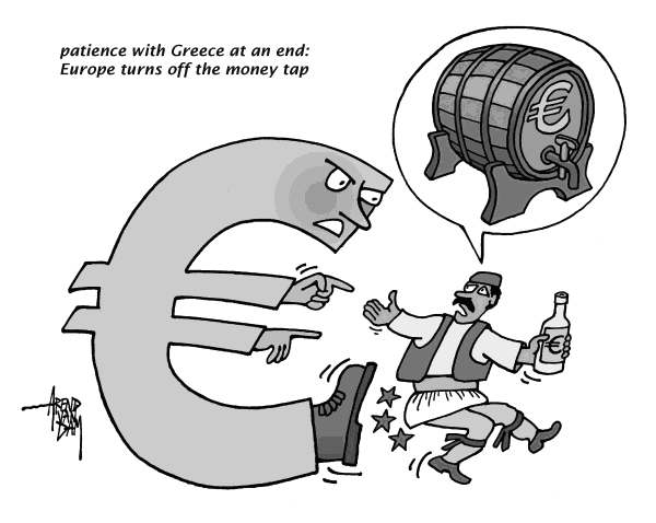 Arend Van Dam - politicalcartoons.com - Greece kicked out - English - Greece, Europe, euro, economy, money tap