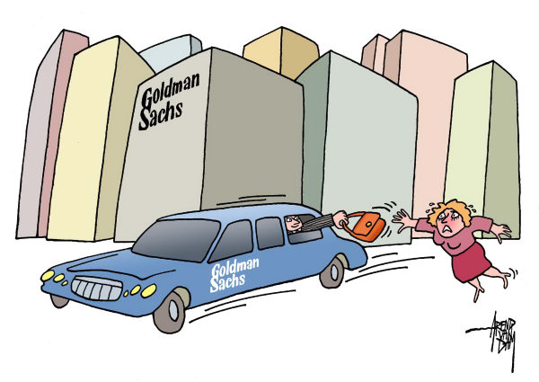 Arend Van Dam - politicalcartoons.com - bag snatchers - English - Goldman Sachs, Greg Smith