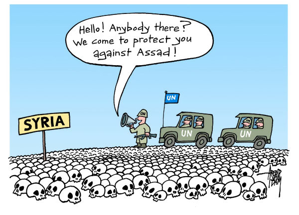 Arend Van Dam - politicalcartoons.com - UN and Syria - English - Syria, Assad, UN