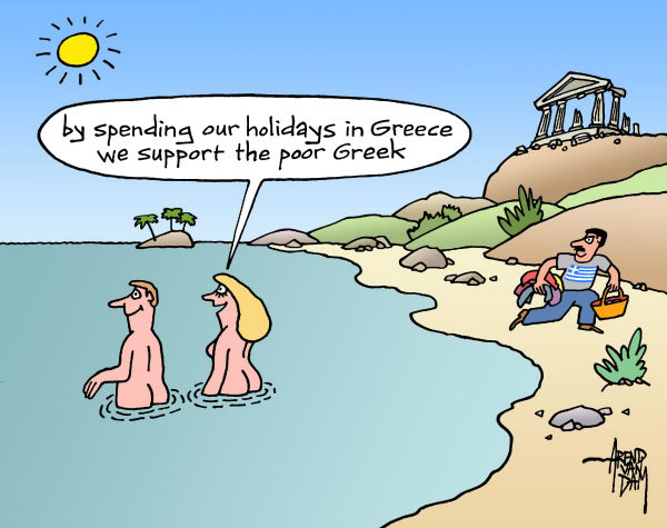 Arend Van Dam - politicalcartoons.com - holiday in Greece - English - Greece, Europe, holidays, economic support, euro crisis, euro