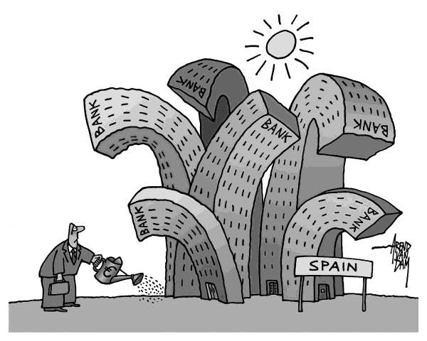 Arend Van Dam - politicalcartoons.com - Spain - blasted banks - English - Spain, Europe, euro, banks, bailout, Spanish banks