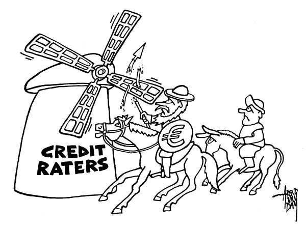 Arend Van Dam - politicalcartoons.com - Don Quichotte - Credit Raters - English - Spain, Europe, euro, Spanish banks, Don Quichotte