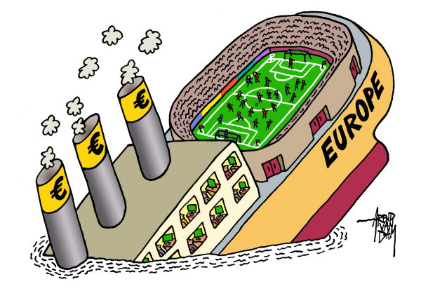 Arend Van Dam - politicalcartoons.com - sinking and soccer - English - Europe, euro, soccer, European championship