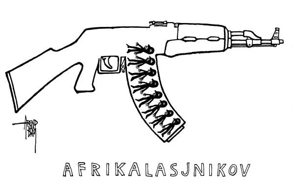 Arend Van Dam - politicalcartoons.com - Afrikalashnikov - English - Arms Trade, disarmament, UN Conference on the Arms Trade Treaty, Afrika, kalashnikov