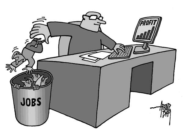 Arend Van Dam - politicalcartoons.com - Profit and Jobs - English - jobs, profit