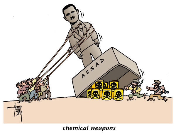 chemical weapons Syria © Arend Van Dam,politicalcartoons.com,Syria, Assad, chemical weapons, terrorists, regime change