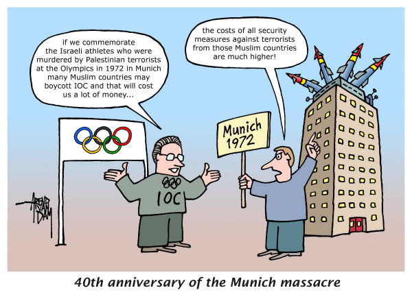 Arend Van Dam - politicalcartoons.com - Commemoration of Munich 1972 - English - Olympics, Olympic Games, opening ceremony, Munich 1972, Israeli athletes, Munich massacre, IOC, Jacques Rogge