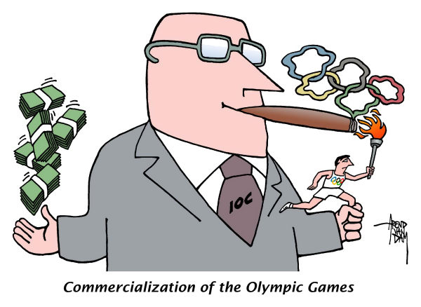 Arend Van Dam - politicalcartoons.com - Olympics Commercializat- ion - English - Olympic Games, Olympics, commercialization, big money