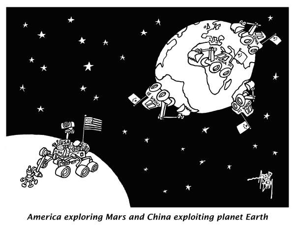 Arend Van Dam - politicalcartoons.com - Mars and Earth - English - Curiosity, Mars, space, minerals, resources, explore, exploit, China, USA