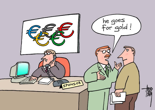Arend Van Dam - politicalcartoons.com - Olympic Sponsor - English - Olympic Games, Olympics, London 2012, sponsoring