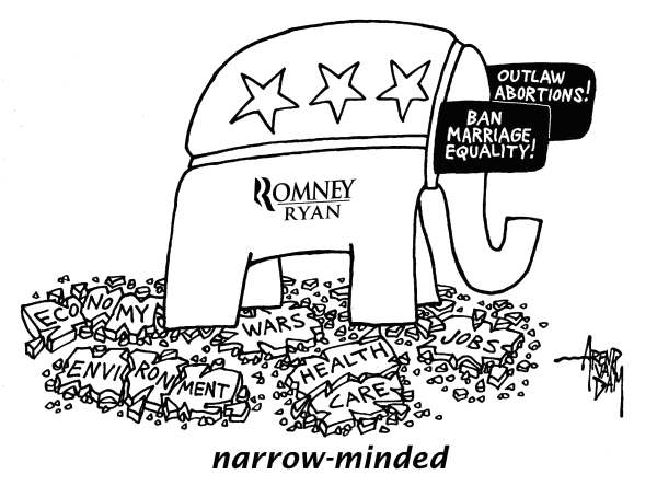 Arend Van Dam - politicalcartoons.com - Republican priorities - English - Republican party, marriage equality, gay marriage, abortion