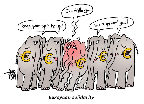 Arend Van Dam - politicalcartoons.com - European solidarity - English - Europe, solidarity, euro crisis, elephants, support, euro
