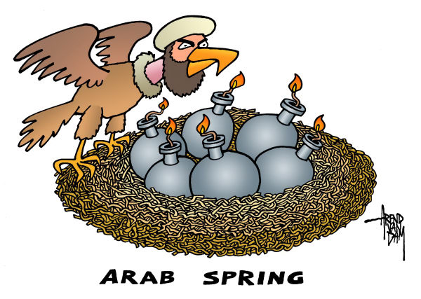 Arend Van Dam - politicalcartoons.com - Arab spring - egg bombs - English - Arab spring, egg bombs, terrorists, US Envoy to Libya is killed in attack
