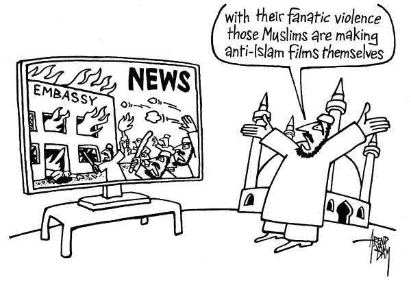 Arend Van Dam - politicalcartoons.com - anti-Islam film - English - Islam, Muslims