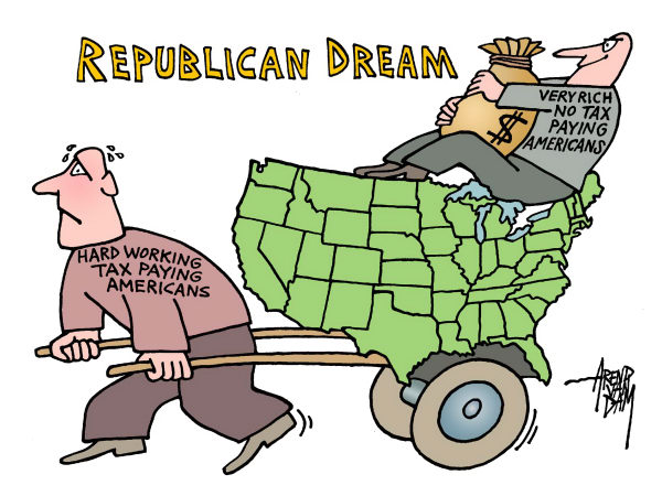Arend Van Dam - politicalcartoons.com - Republican Dream - English - American Dream, tax, tax payers, very rich Americans