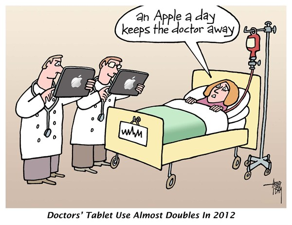 Arend Van Dam - politicalcartoons.com - Doctor' Tablet Use - English - healthcare, doctors, iPad, tablets, information technology, patients, Apple