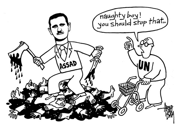 Arend Van Dam - politicalcartoons.com - UN warning - English - Assad, Syria, UN