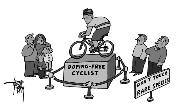 Arend Van Dam - politicalcartoons.com - doping-free cyclist - English - doping and racing cyclists, professional cycling, doping scandals, Lance Armstrong
