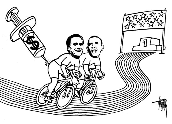 Arend Van Dam - politicalcartoons.com - Romney and doping - English - Romney, doping