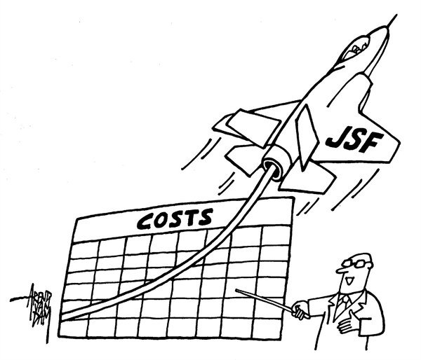Arend Van Dam - politicalcartoons.com - climbing costs - English - JSF, joint strike fighter