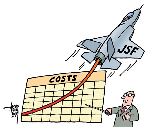 Arend Van Dam - politicalcartoons.com - climbing costs - English - JSF, joint strike fighter, air force